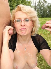 Mature blonde and her young lovers do a hot threesome outdoors and it looks amazing