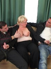 The mature blonde shows her lust for cock meat and they feed her as much dick as she can take