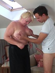 The chubby old slut takes a ride on his cock and lets him jizz on her wrinkled old face