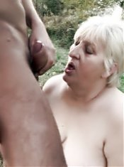 Blonde older gal Anna Mary goes down to suck a dick and got fucked like crazy in this live outdoor sex show