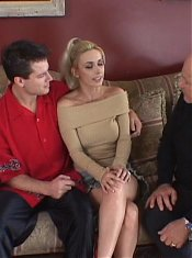 Blonde wife Mallory Knoxxx got herself surrounded with cocks in this racy gangbang party